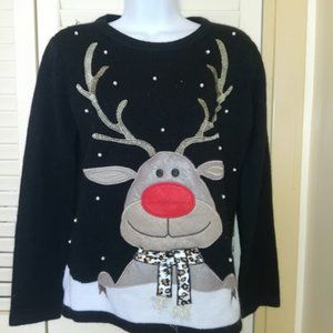 Black White Reindeer Sweater Size Small
